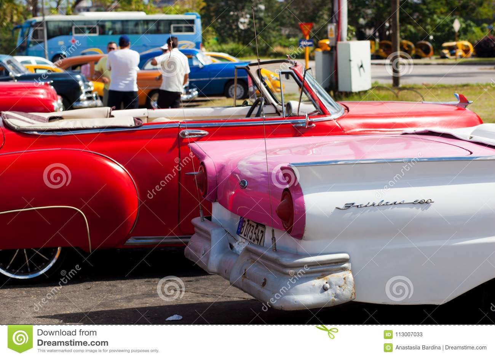 Havana Cuba 8 February 2018 Retro Cars Close Up In Havana