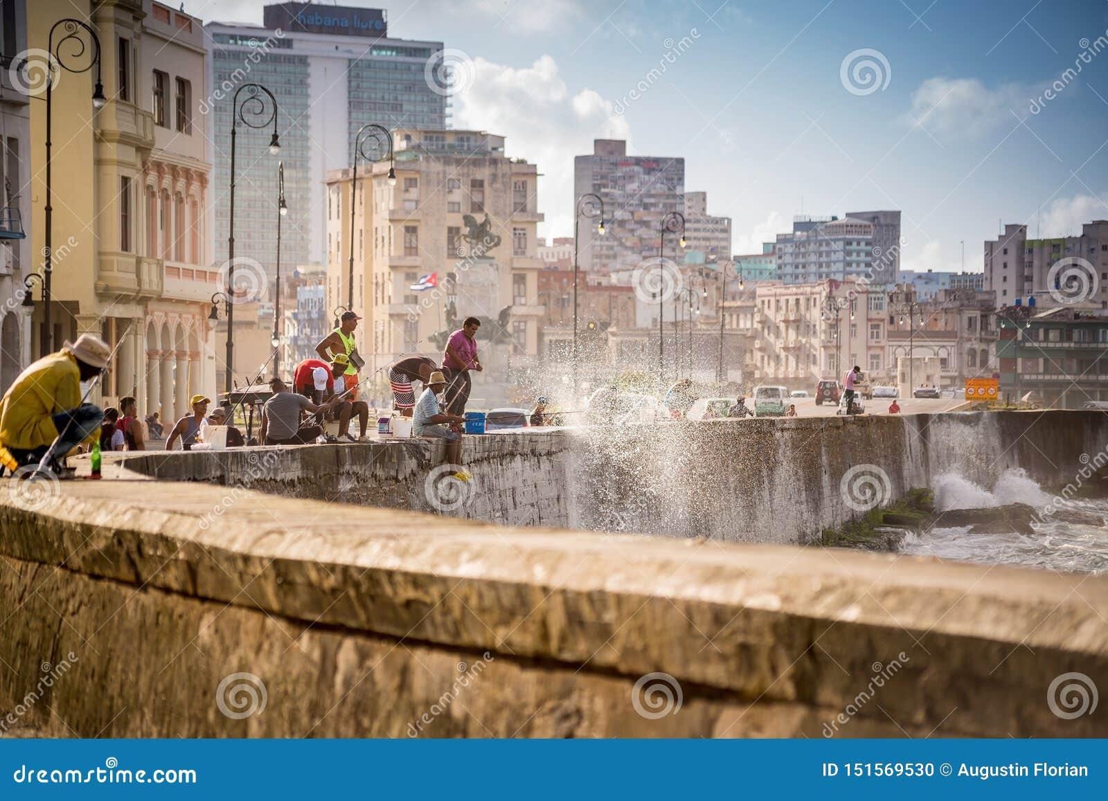 Havana, Cuba - November 29, 2017: Fishermen on Malecon