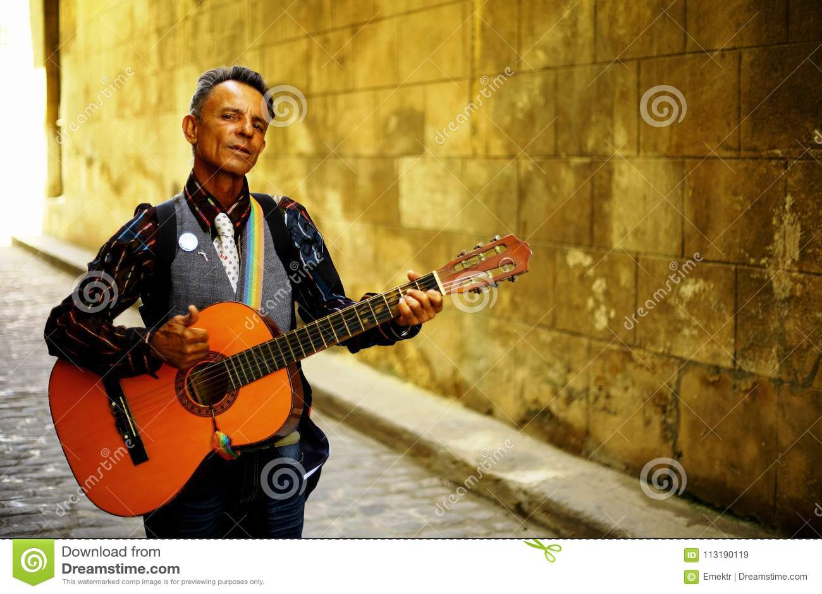 Havana,Cuba - Street Musician Editorial Stock Image - Image