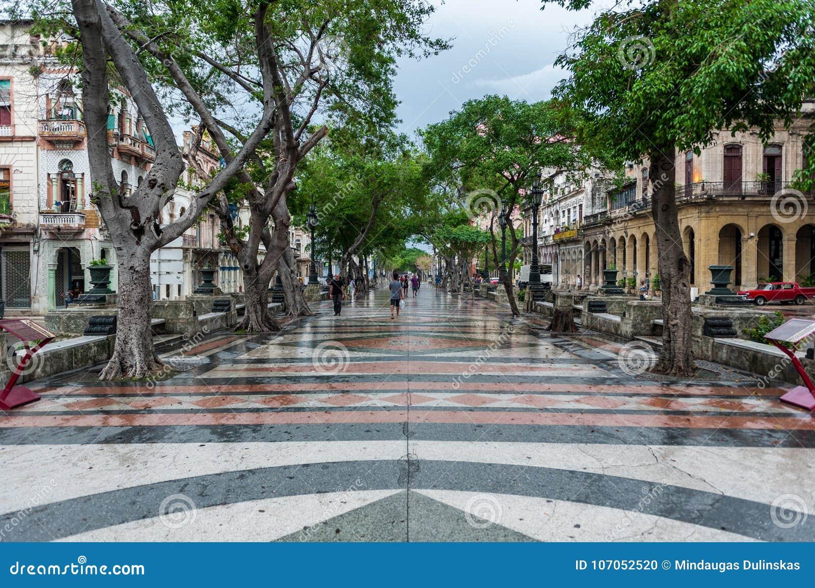 HAVANA, KUBA - 21. OKTOBER 2017: Alte Stadt in Havana und in einem der berühmten Straße - Paseo Del Prado kuba