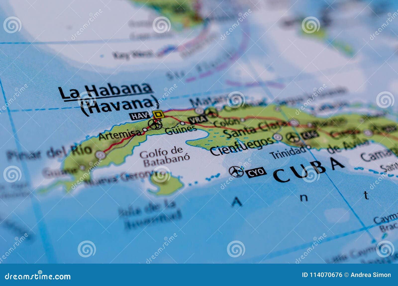 Havana Op Kaart Stock Foto Afbeelding Bestaande Uit Reis 114070676