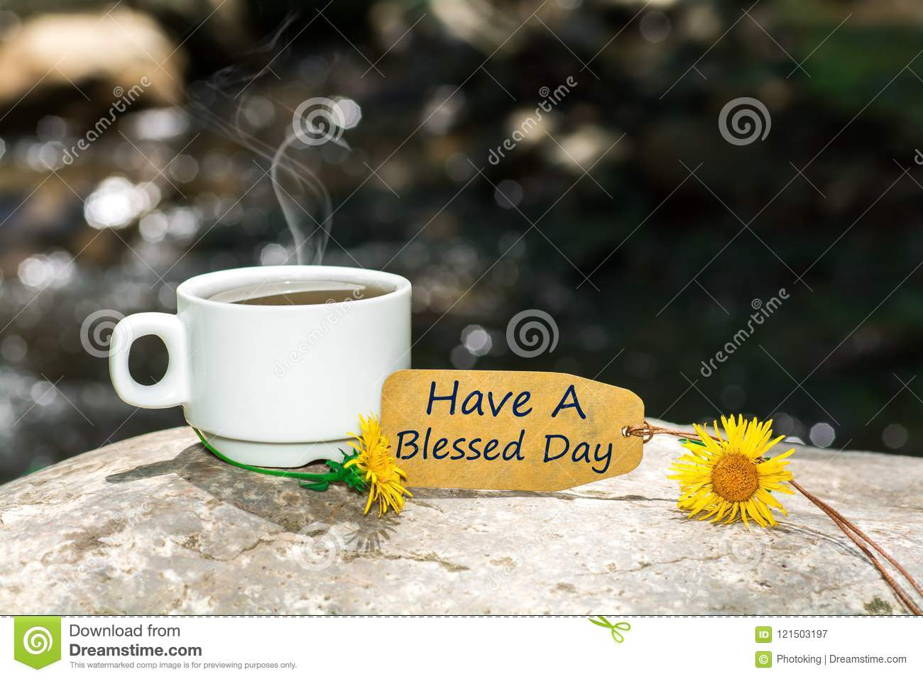 Have A Blessed Day Text With Coffee Cup Stock Image Image Of