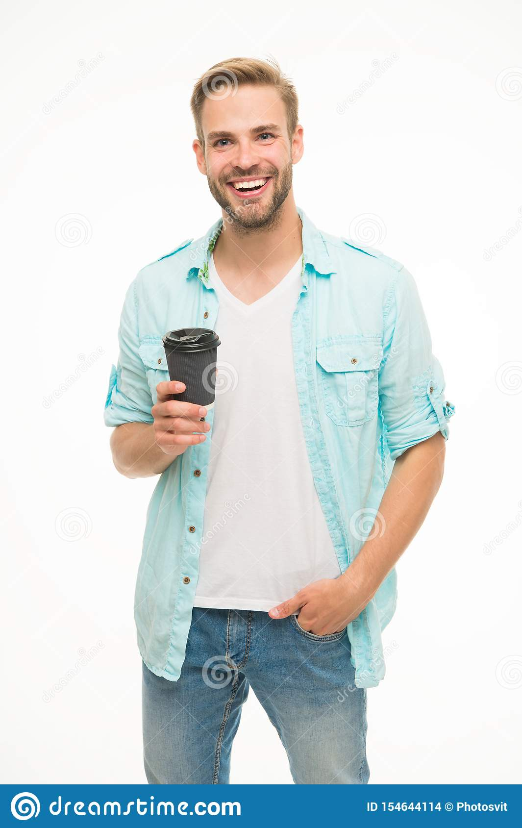 Have coffee for good mood. Recyclable coffee cup. Hipster man hold paper coffee cup. Relaxing break. Drink it on the go