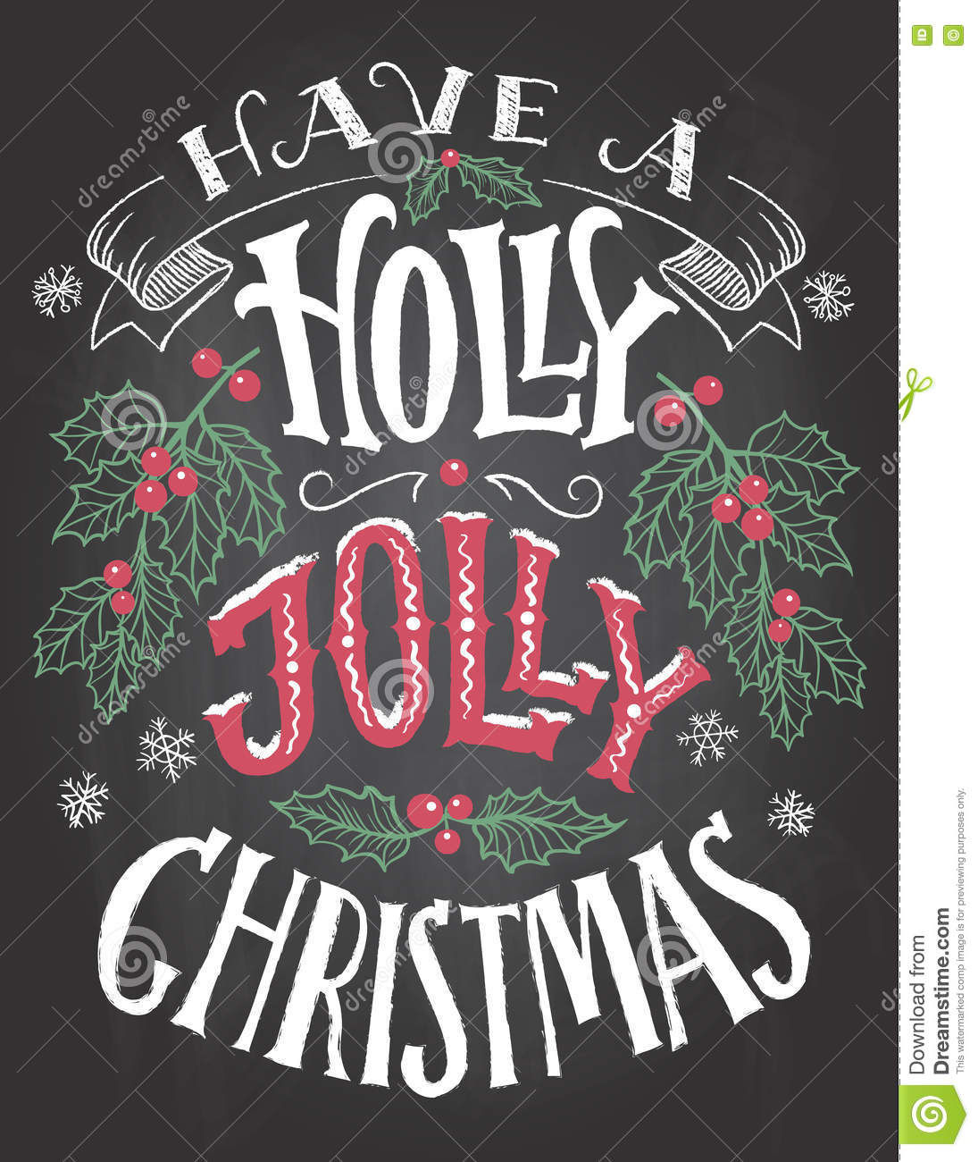 Have A Holly Jolly Christmas Hand Lettering Stock Vector ...