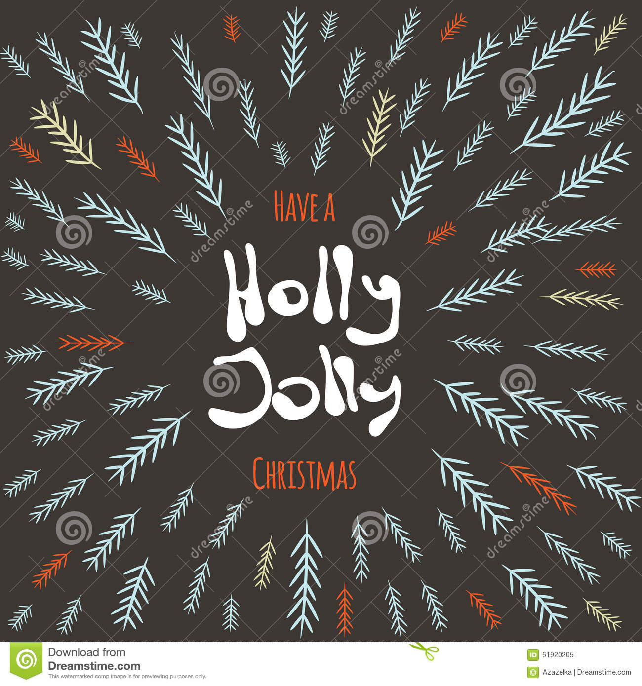 have a holly jolly christmas postcard vector illustrated background