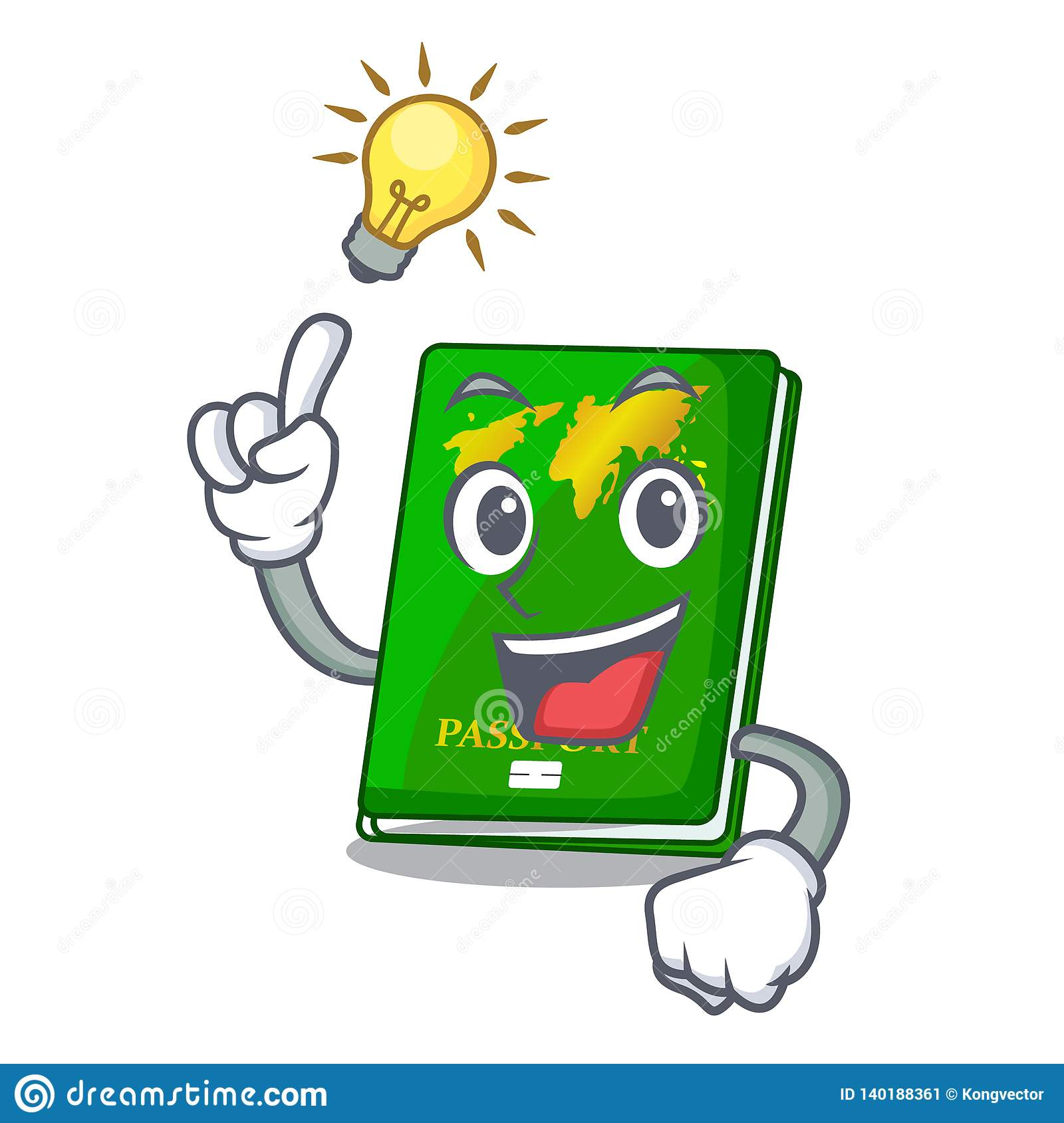 Have an idea green passport on the mascot table