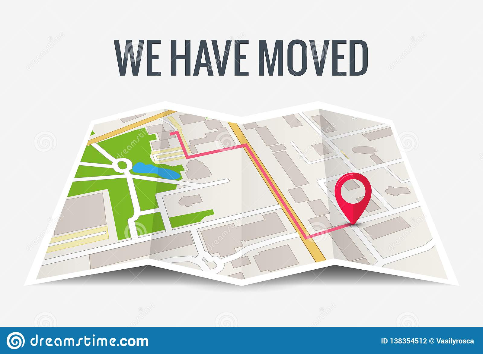 We have moved new office icon location. Address move change location announcement business home map