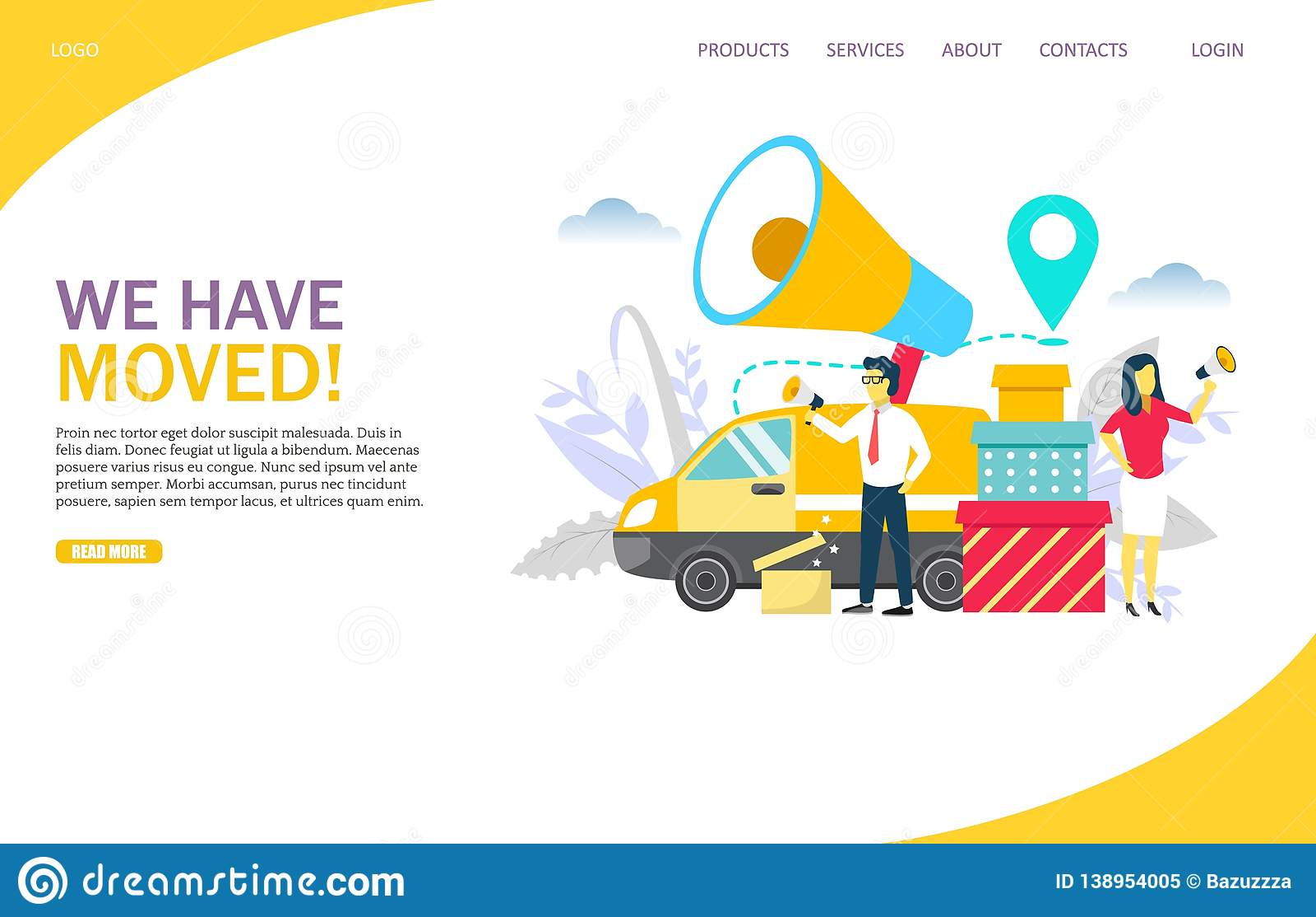 we have moved vector website landing page design template. Black Bedroom Furniture Sets. Home Design Ideas