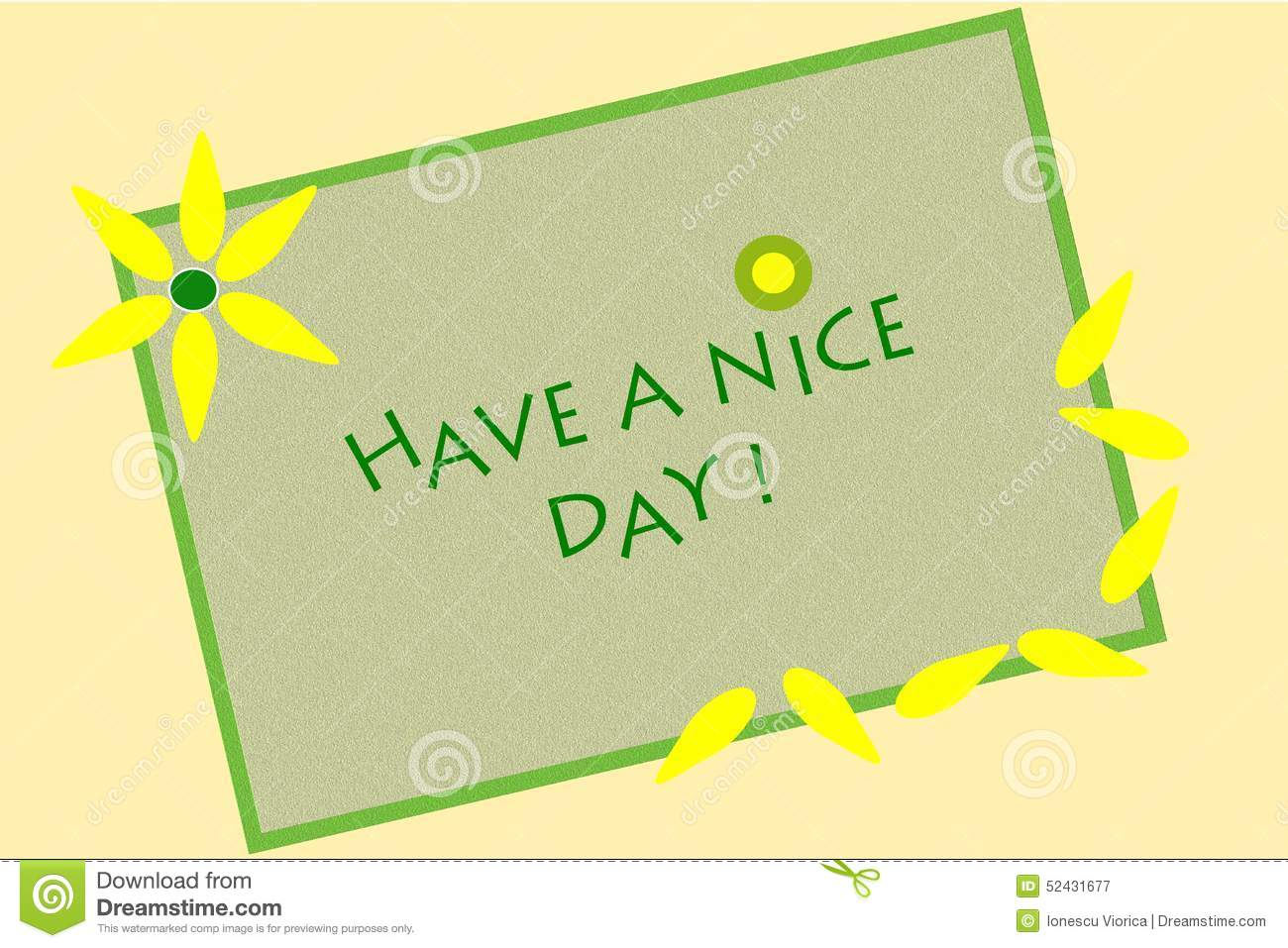 Beautiful Have A Nice Day Message Written On Green Canvas