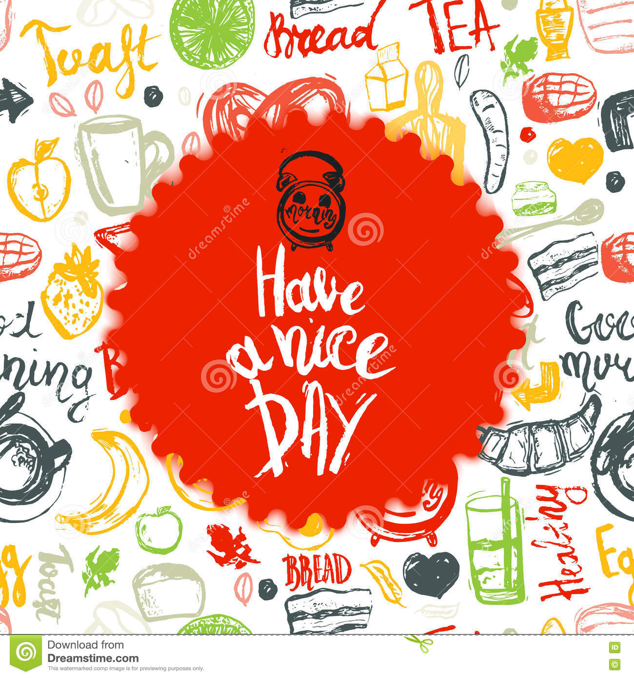 Have A Nice Day Quote With Breakfast Set And Funny Elements Of Food