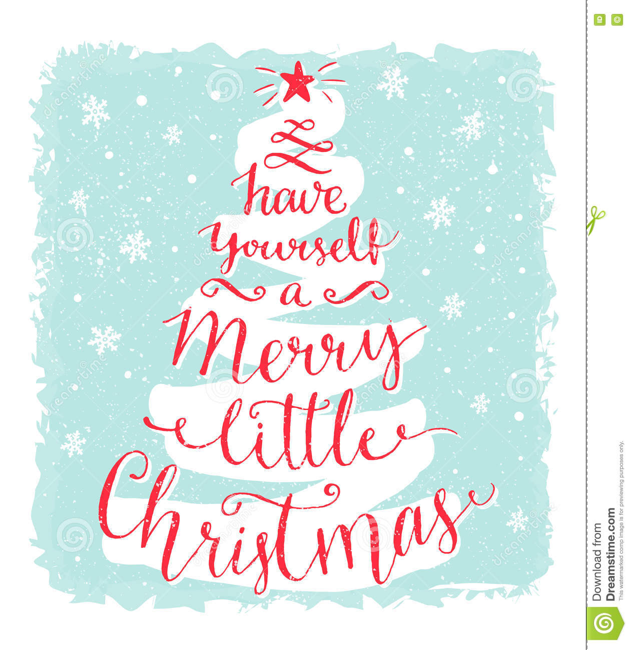have yourself a merry little christmas greeting card with calligraphy in the shape of xmas