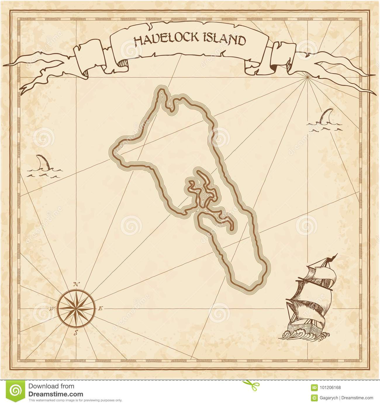 Havelock Island: Havelock Island Old Treasure Map. Stock Vector