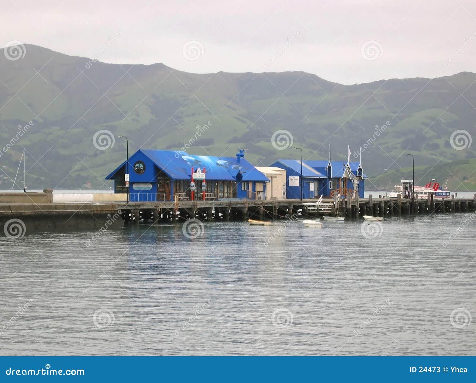 Haven in Akaroa, Nieuw Zeeland