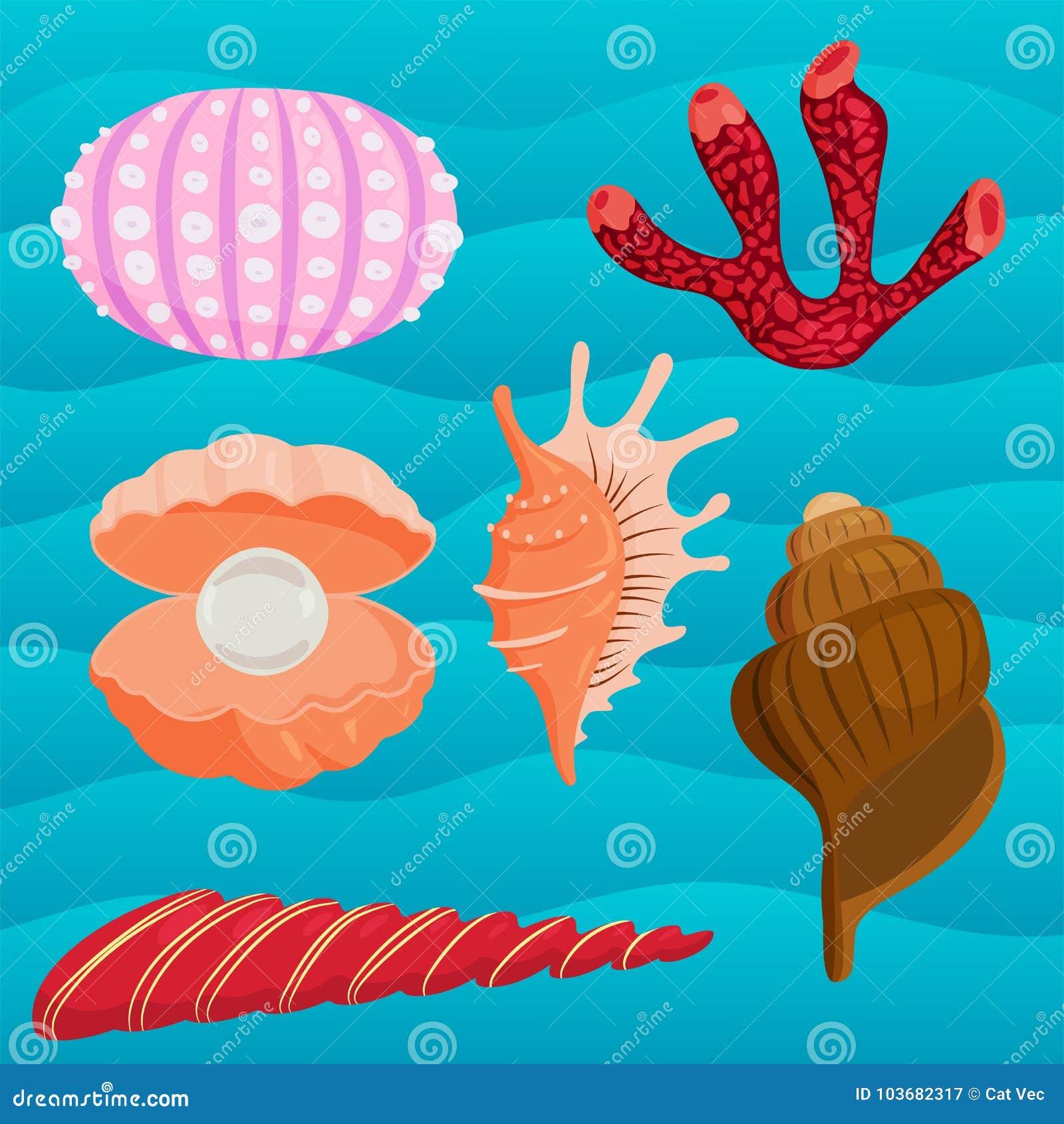 Havet beskjuter den marin- tecknade filmen mussla-SHELL och illustrationen för vektor för havsjöstjärnacoralline