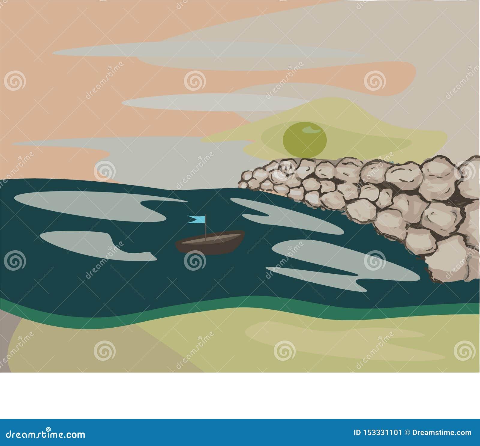 Havet på stranden, sol och vaggar