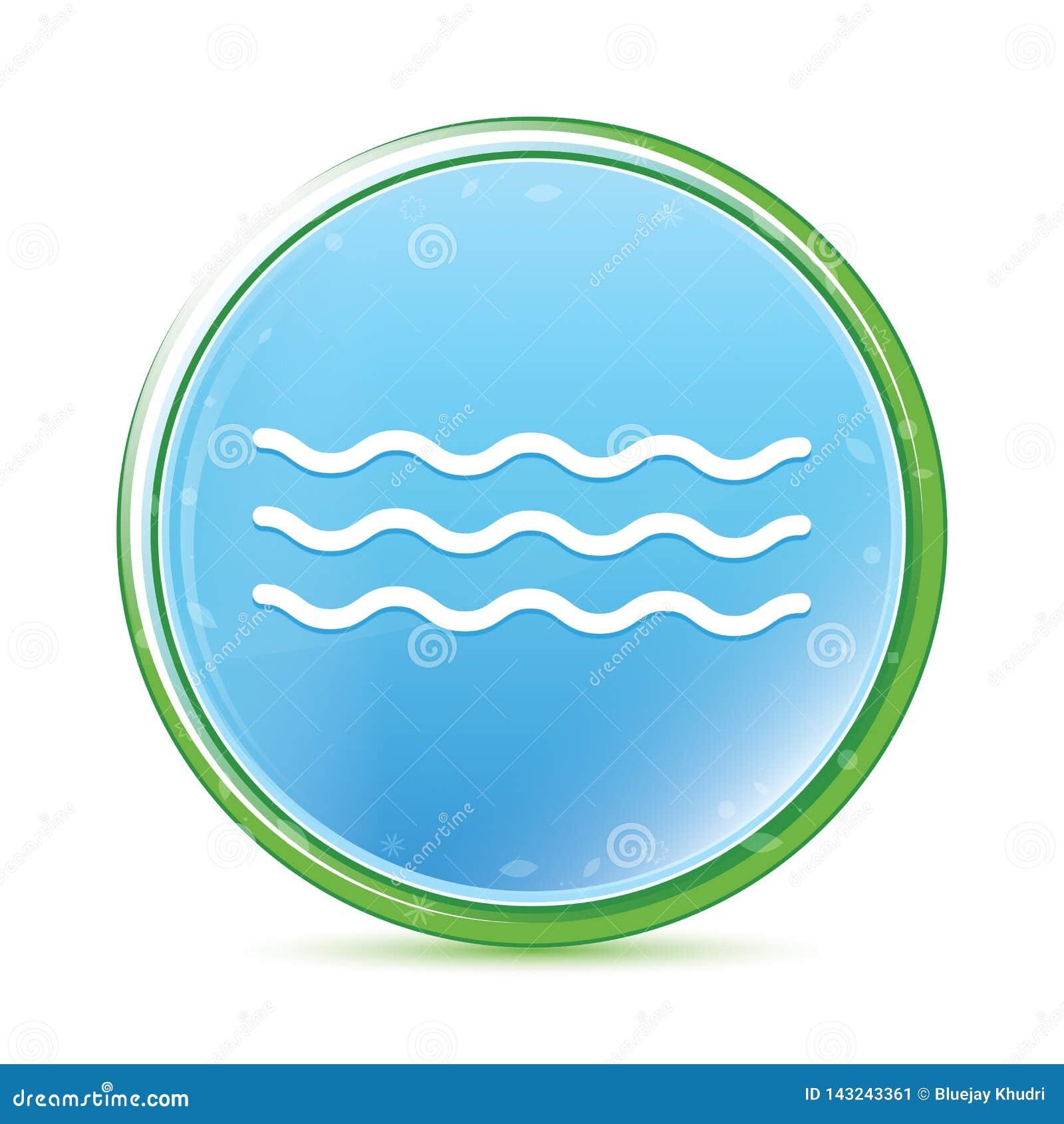 Havet vinkar knappen för naturlig aqua för symbolen den cyan blåa runda