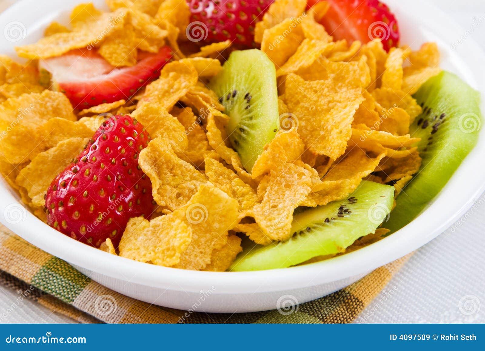 Havreflakes bär fruktt kiwijordgubbar