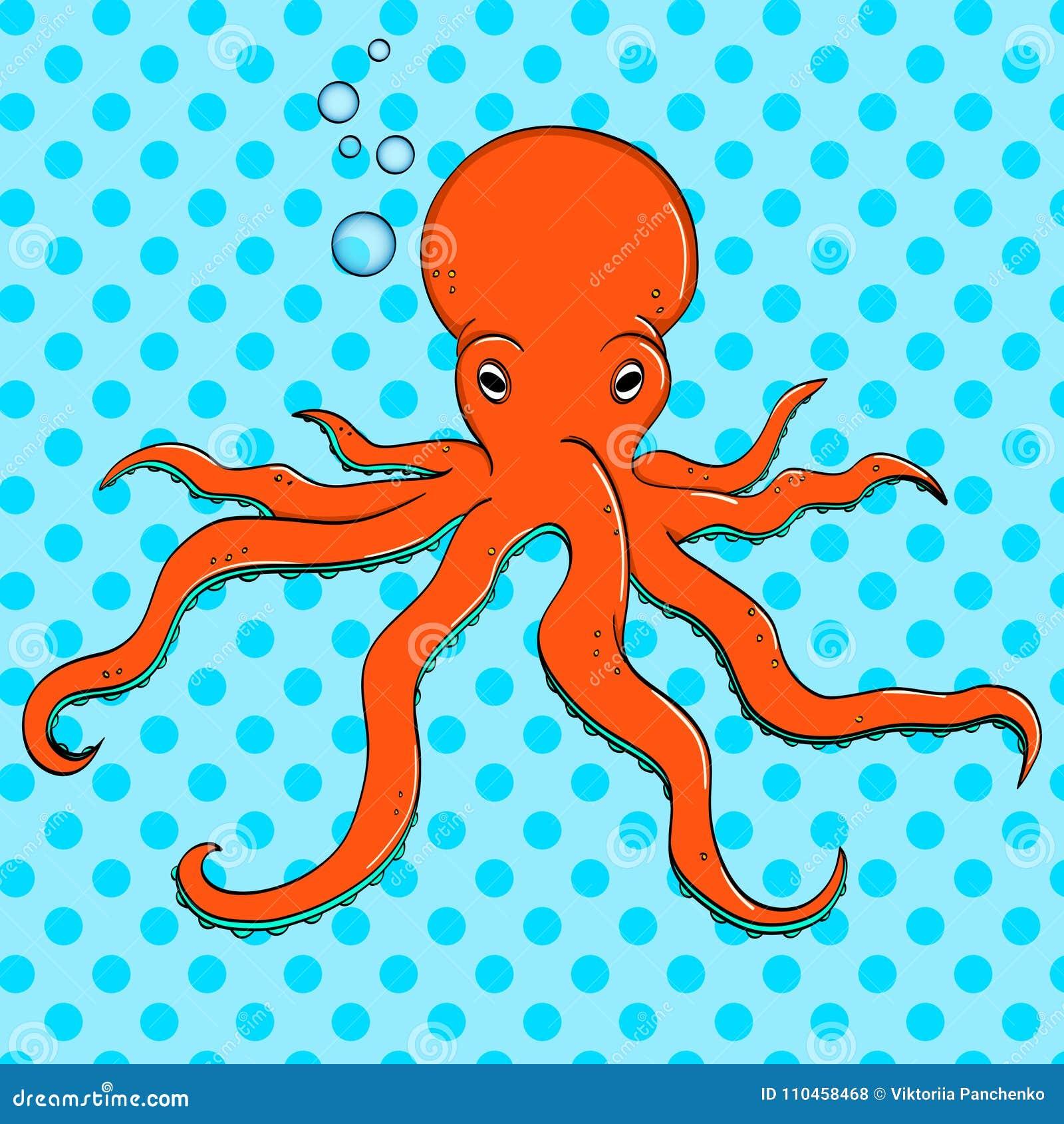 Havsdjur, bläckfisk Invånare av djupen av havet Vektor för popkonst Efterföljden av komisk stil