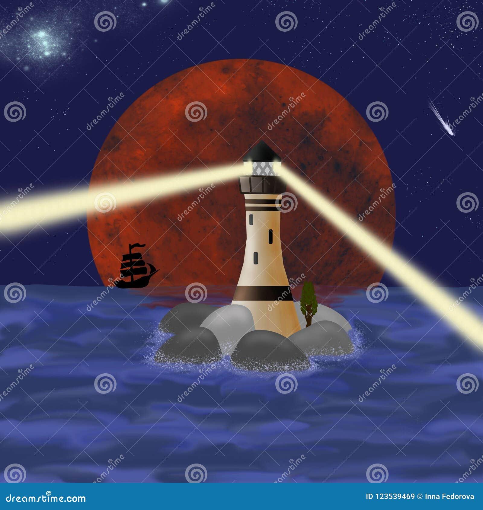 Havsfyr i bakgrunden av månen på natten