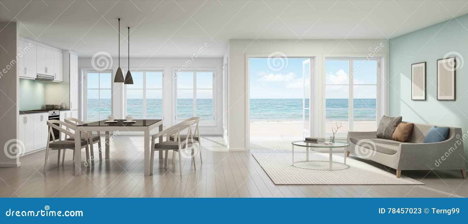 Havssiktsvardagsrum, matsal och kök, strandhus stock ...