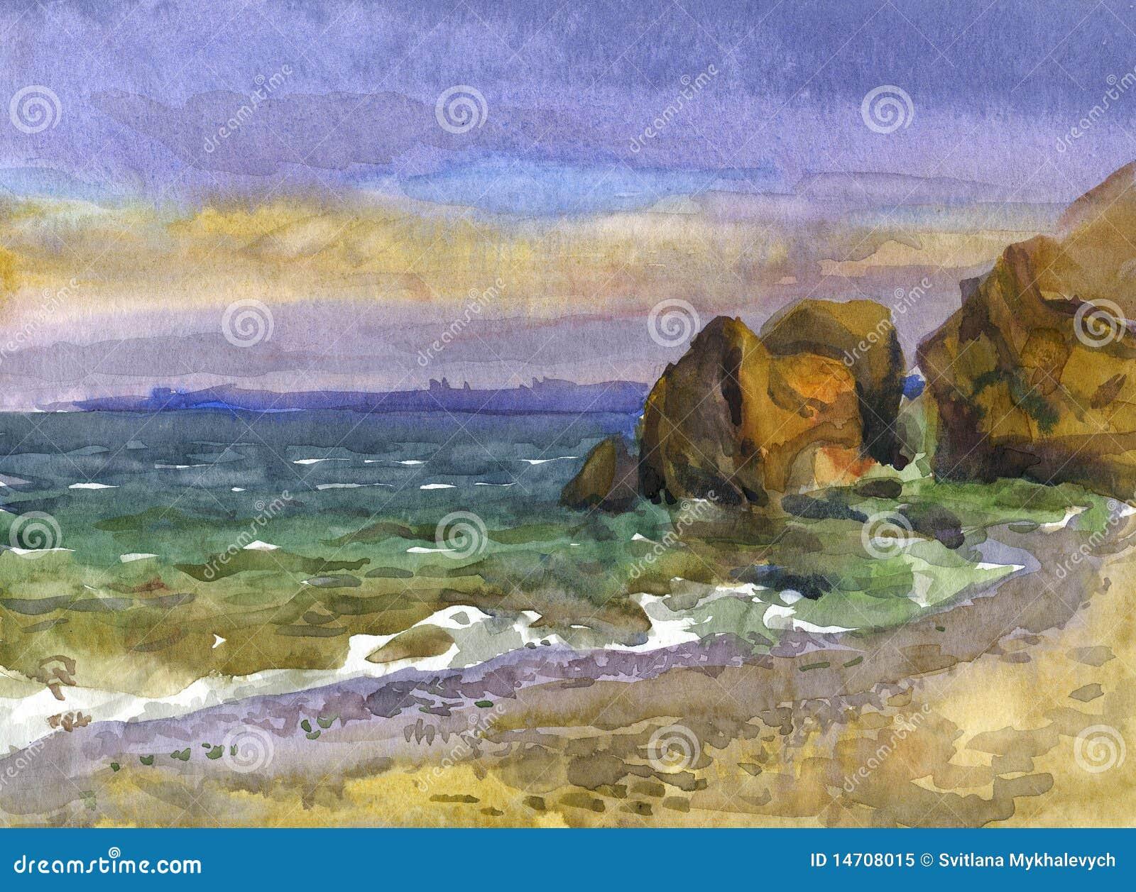 Havssolnedgångvattenfärg