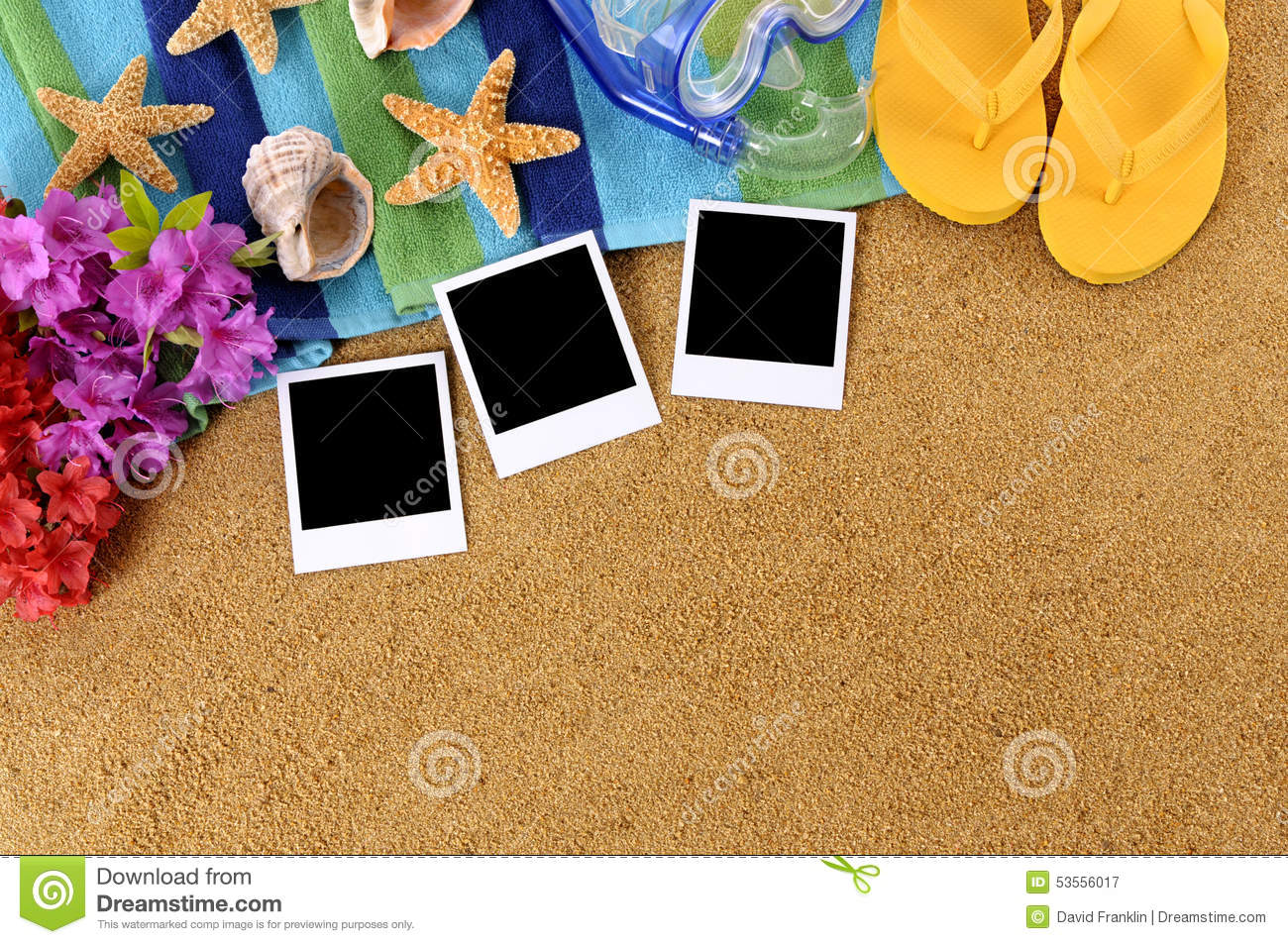 Hawaii Beach Sand Background Blank Polaroid Photo Frames
