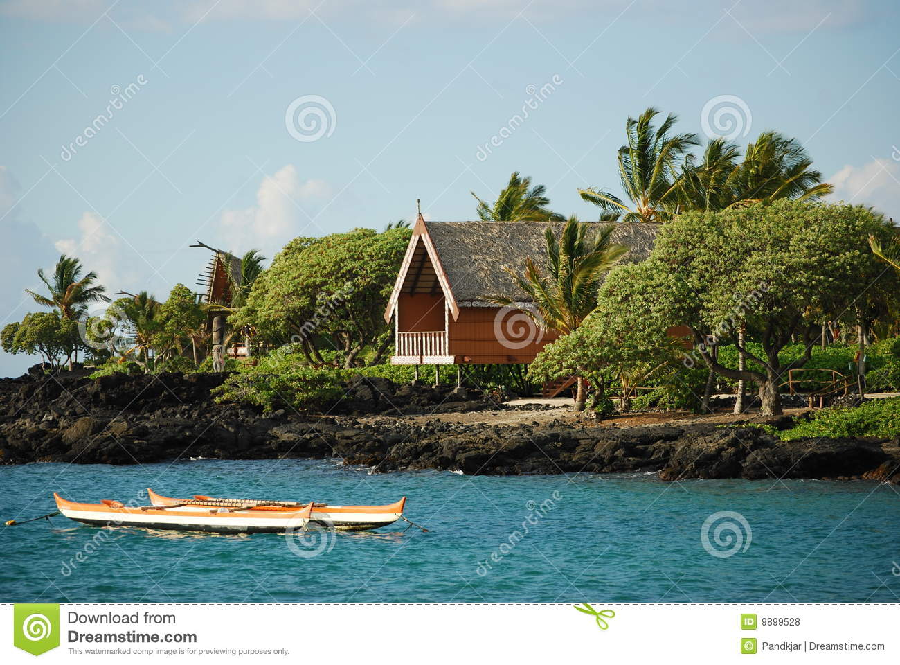 Hawaii cottages on the big island royalty free stock for Big island cabins