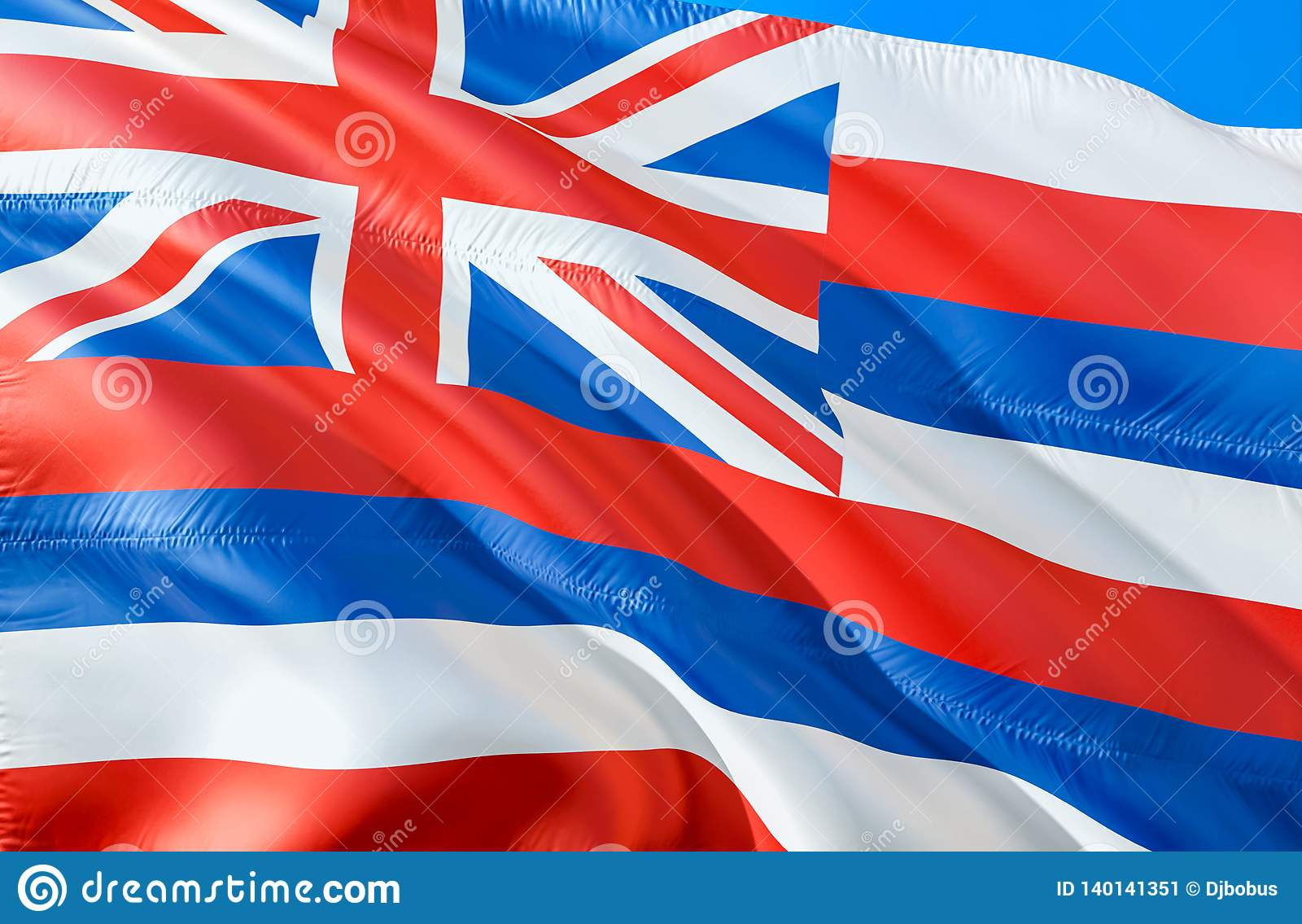 Hawaii flag. 3D Waving USA state flag design. The national US symbol of Hawaii state, 3D rendering. National colors and National