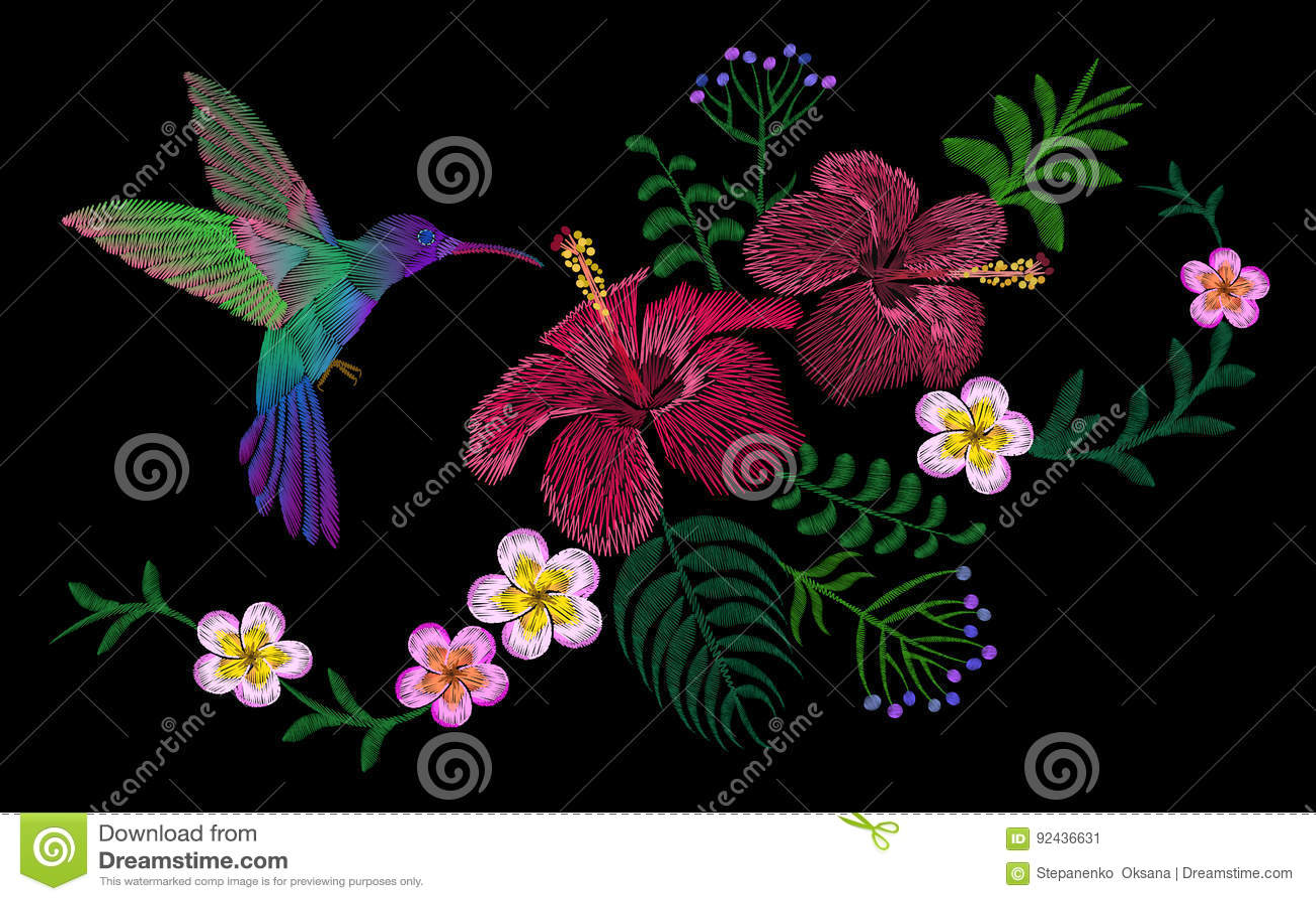 Hawaii Flower Embroidery Arrangement Patch Fashion Print Decoration