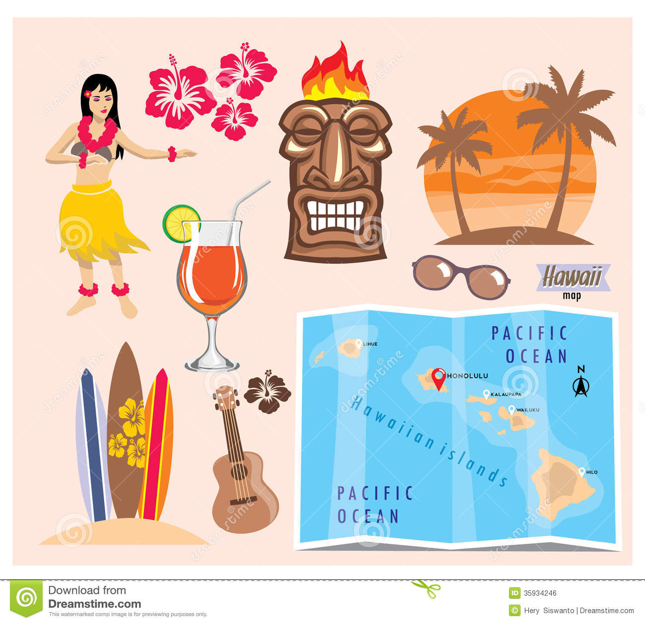Free Plans Hawaii Icon Set Stock Vector Illustration Of Sand Guitar