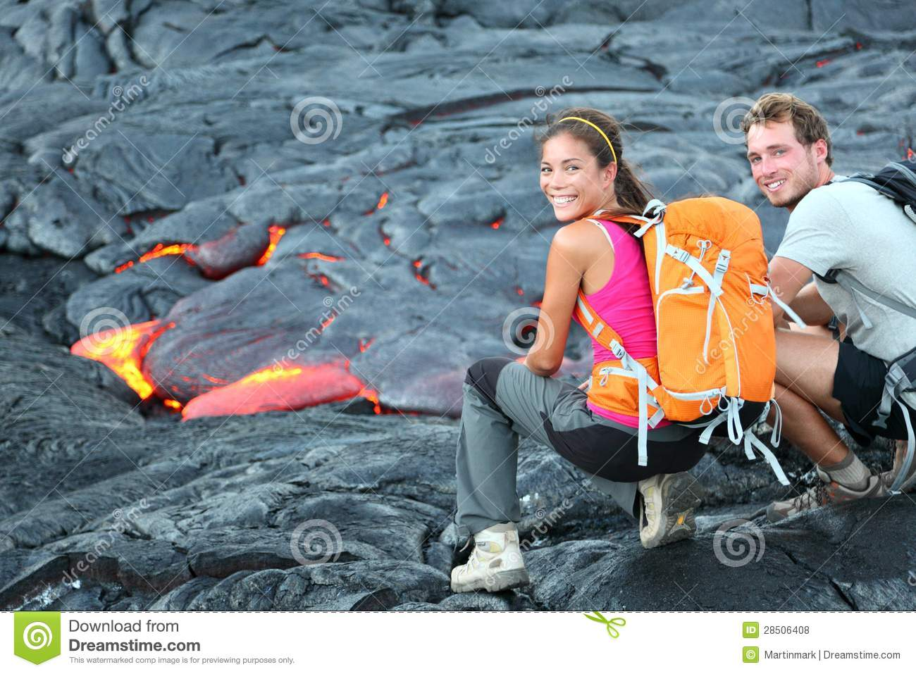 Hawaii Lava Tourist Hiking Portrait Royalty Free Stock