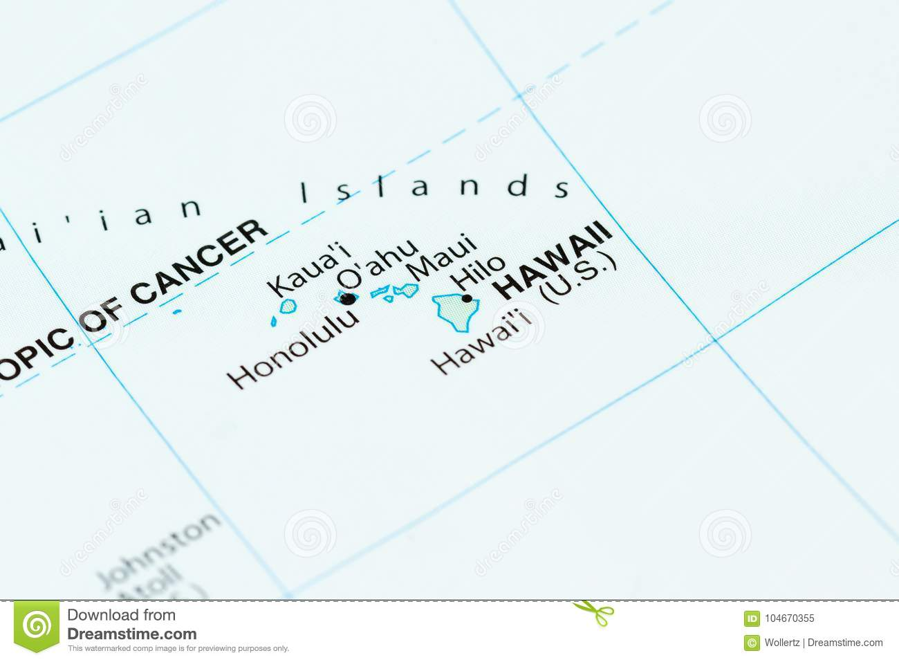Hawaii On A Map Stock Image Image Of Discover Oahu 104670355