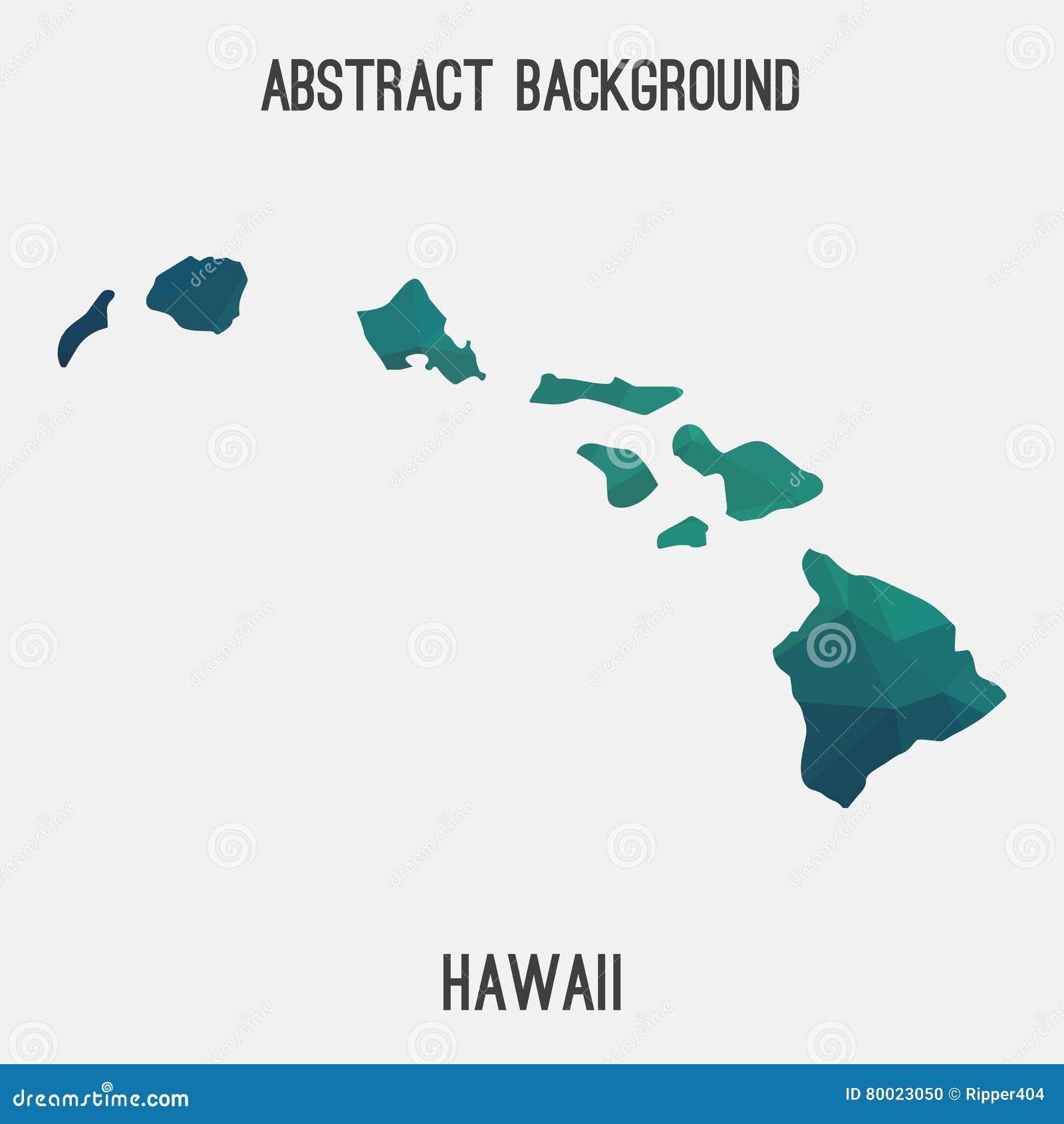 Hawaii Map In Geometric Polygonal Mosaic Style Stock Vector
