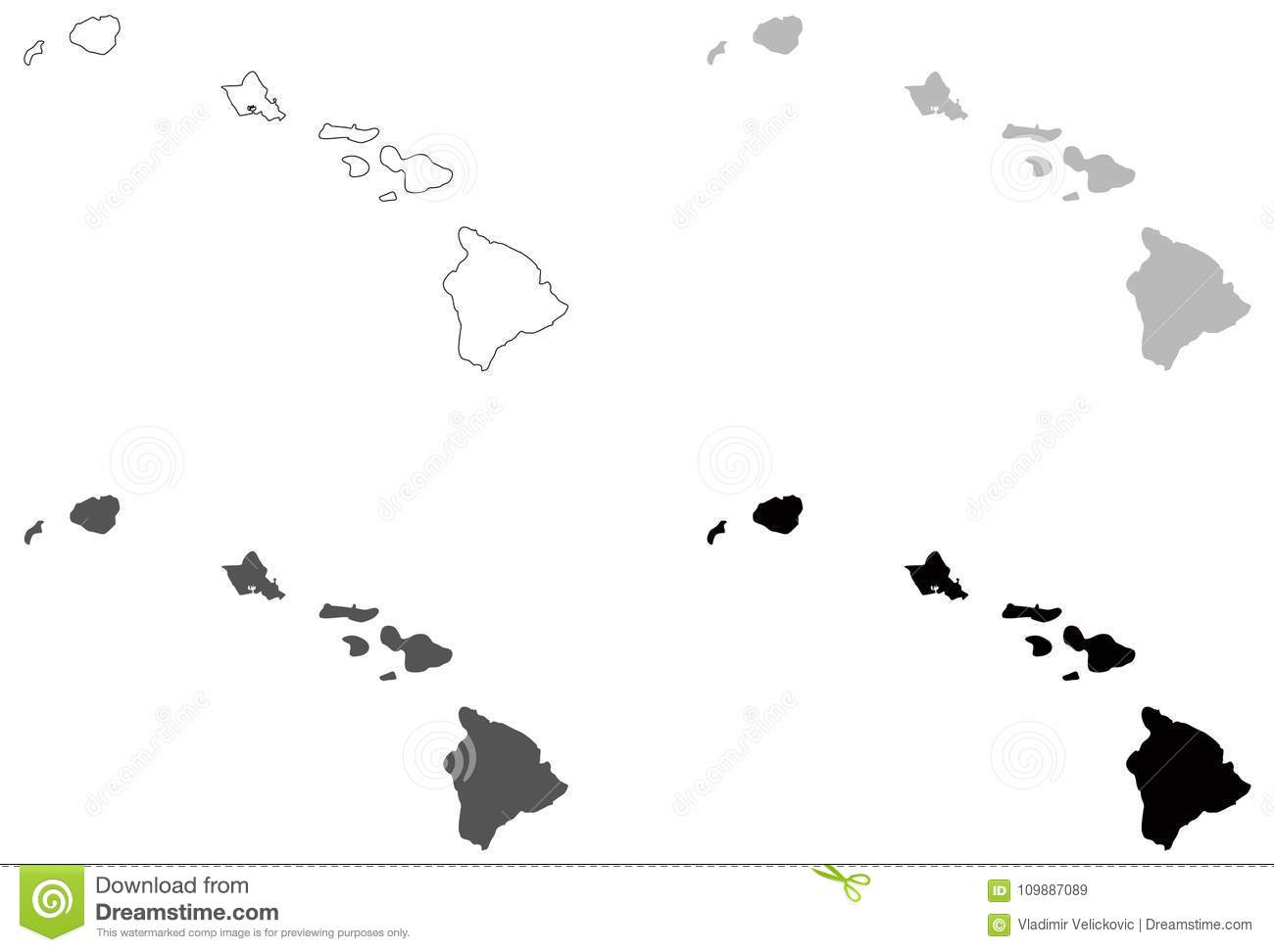 Hawaii Map U S State Located In Oceania Stock Vector