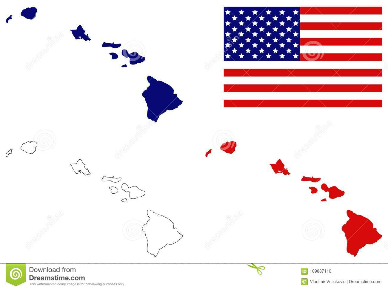 Hawaii Map With USA Flag - U.S. State Located In Oceania Stock ...