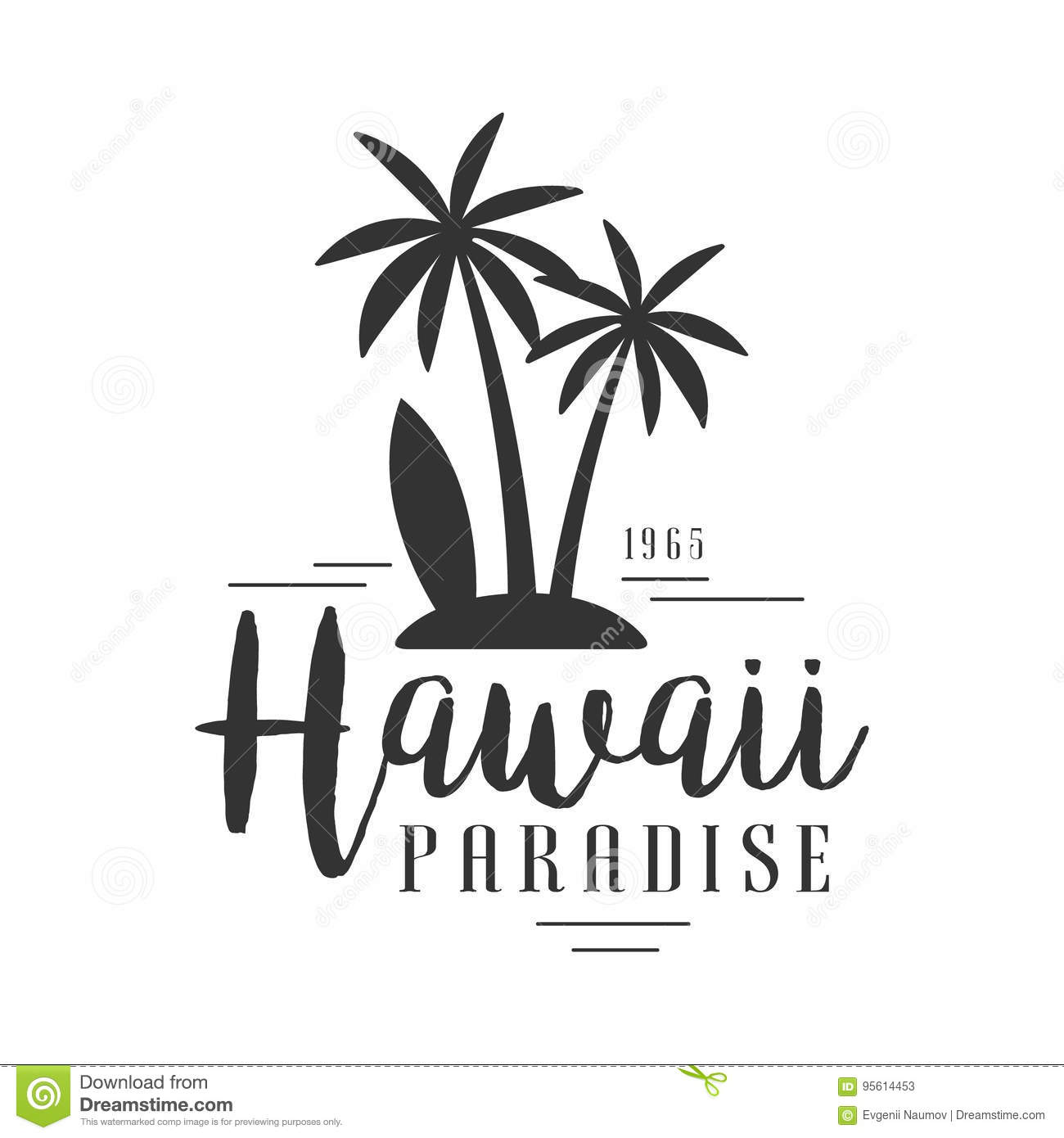 hawaii paradise since 1965 logo template black and white vector