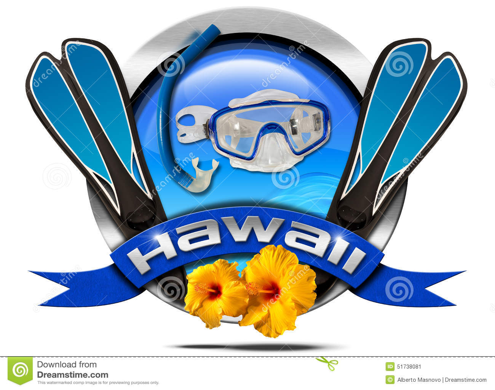 Hawaii Snorkeling Metal Icon Stock Illustration Image