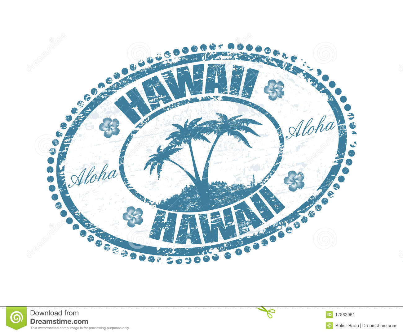 Blue Grunge Rubber Stamp With The Palms Shape And Name Of Hawaii Islands Written Inside