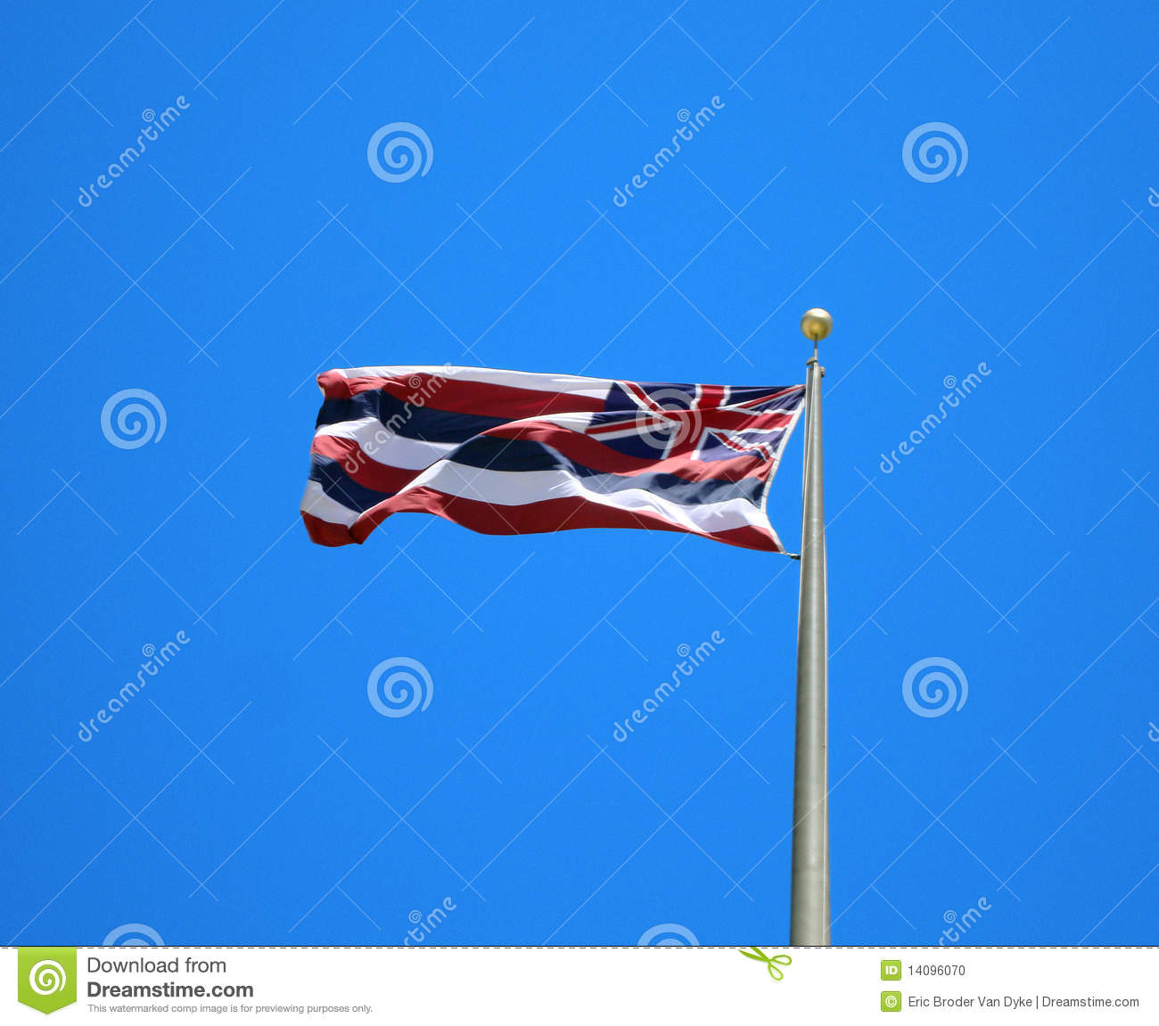 Hawaii State Flag against Blue Background