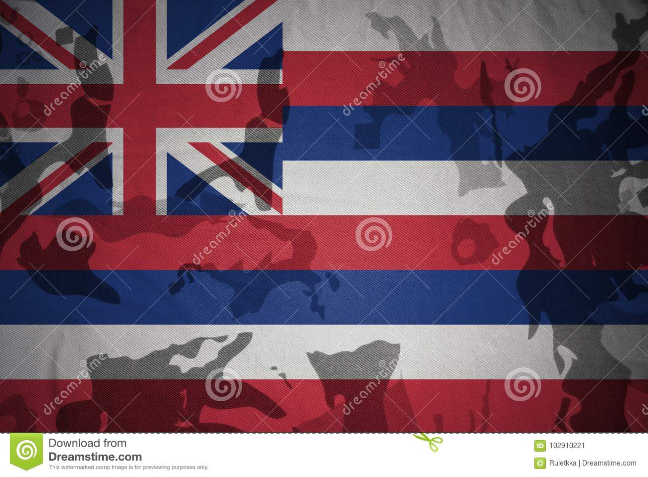 hawaii state flag on the khaki texture . military concept