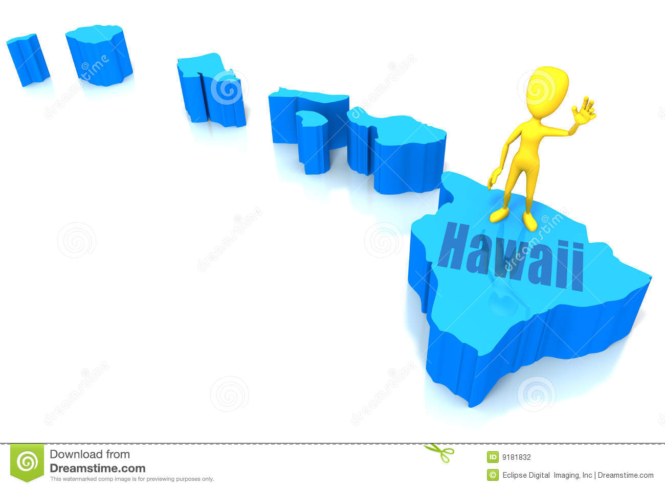 Hawaii State Outline With Yellow Stick Figure