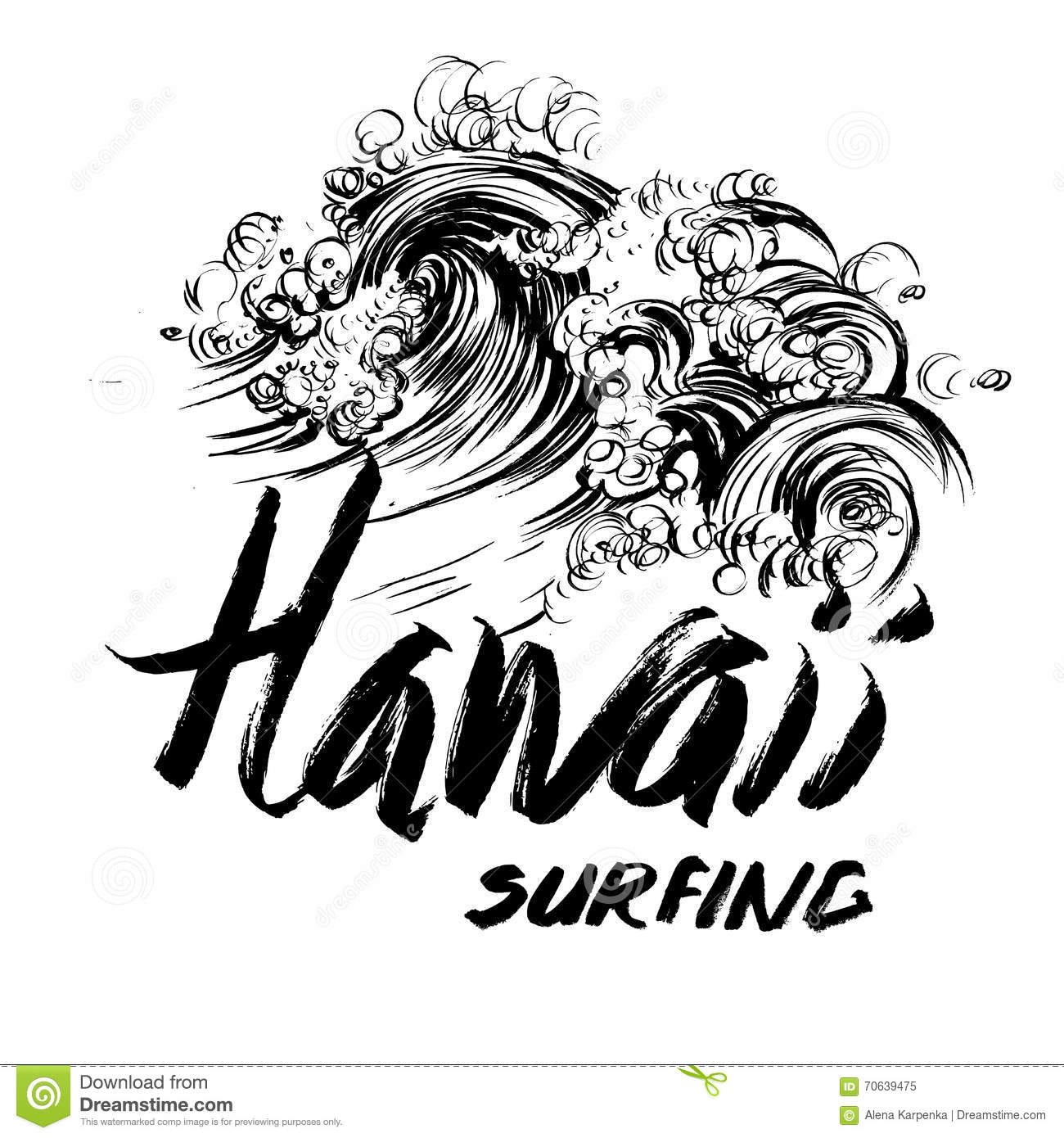 Hawaii Surfing Lettering Brush Ink Sketch Handdrawn
