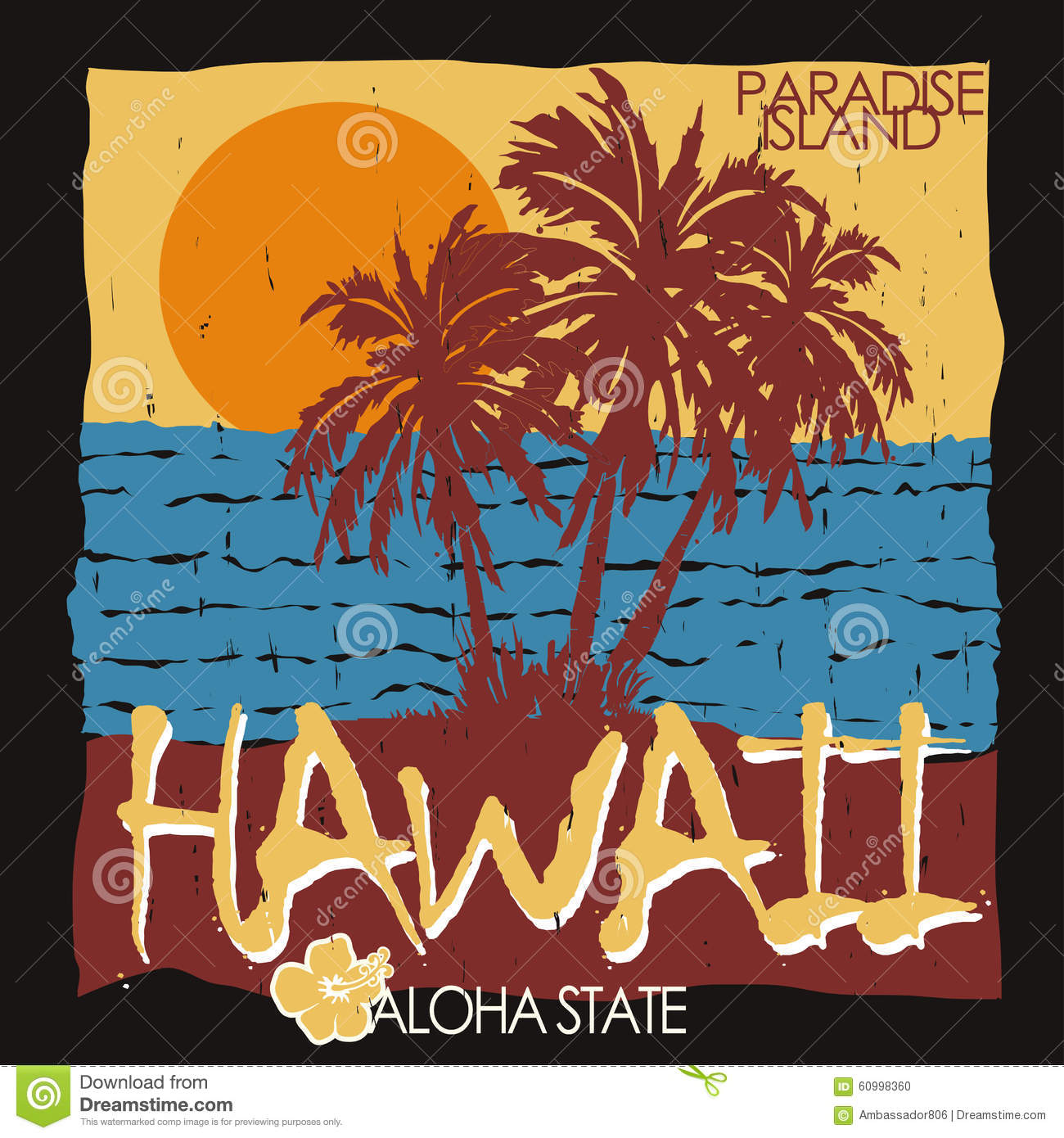 Hawaii tropical beach t shirt stock vector image 60998360 for Hawaiian graphic t shirts