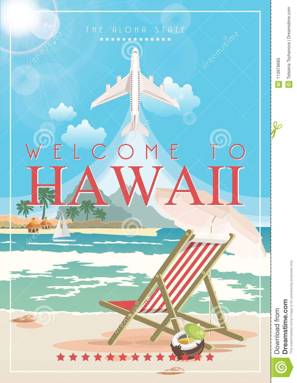 hawaii vector travel illustration with airplane summer template