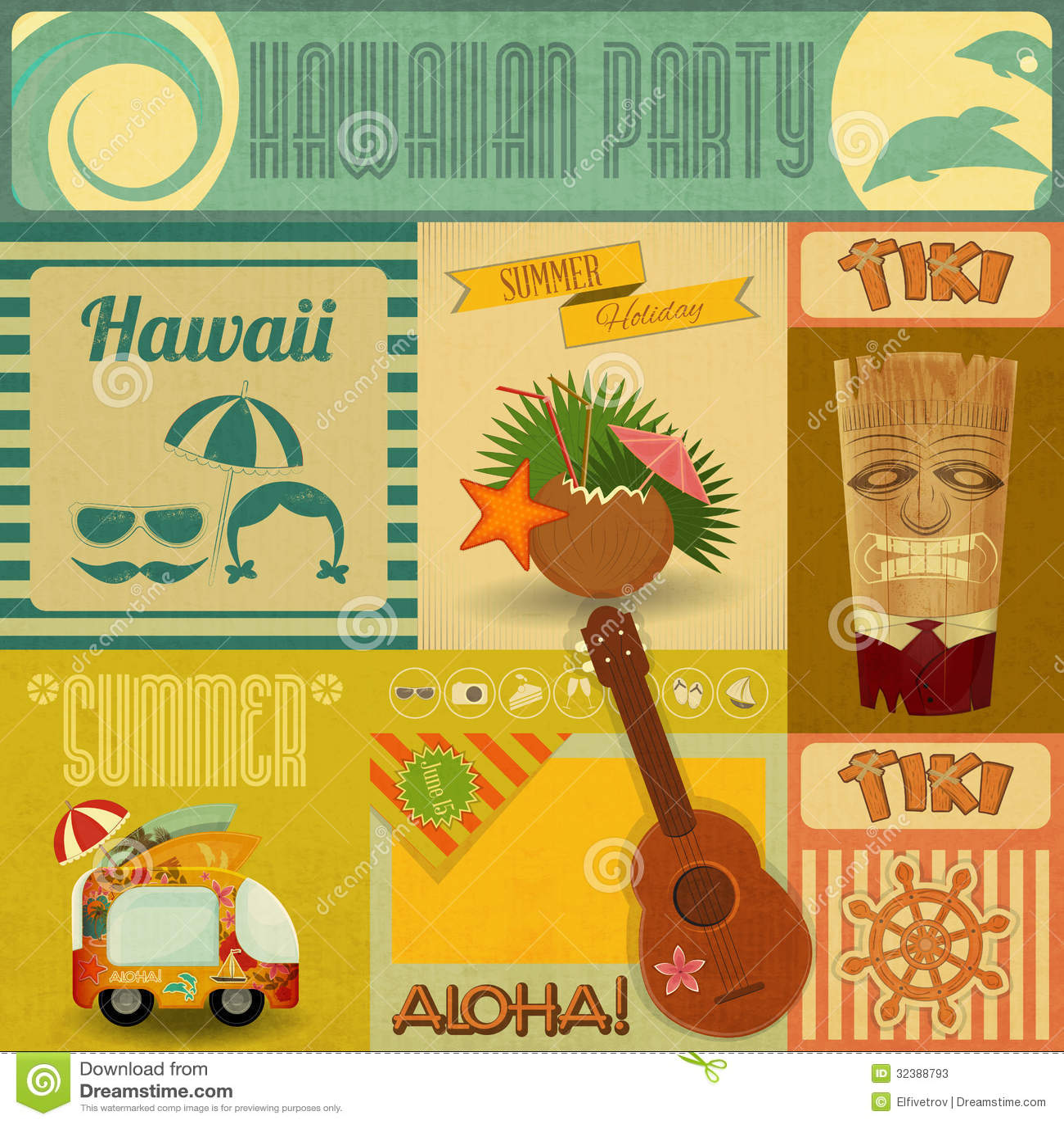 Retro greetings from hawaii postcard stock illustration hawaii vintage card stock photos kristyandbryce Choice Image
