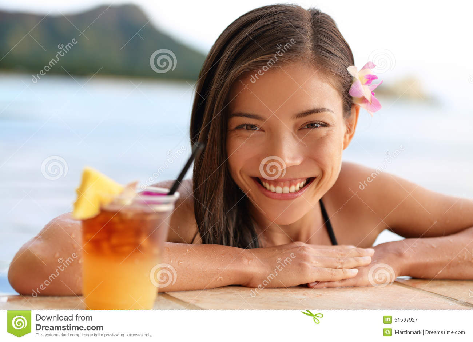 Hawaii woman with hawaiian mai tai drink on beach stock photo image 51597927 for Swimming pools drank instrumental