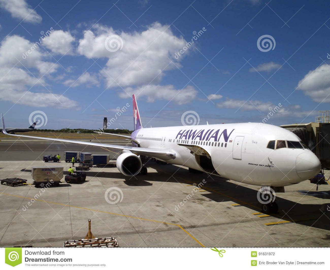 Hawaiian Airlines airplanes gets ready for boarding