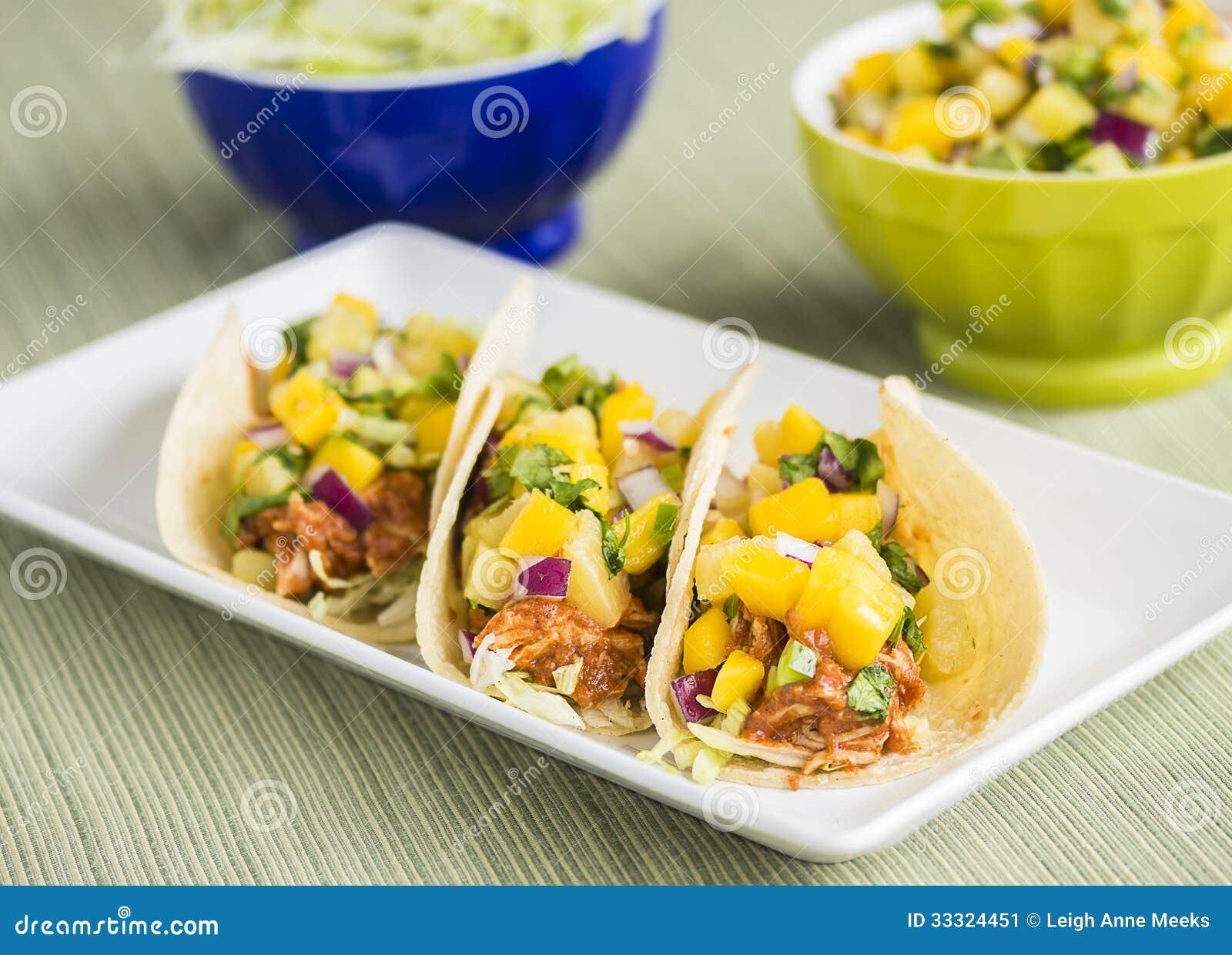Hawaiian Bbq Chicken Tacos Stock Image Image Of Color 33324451