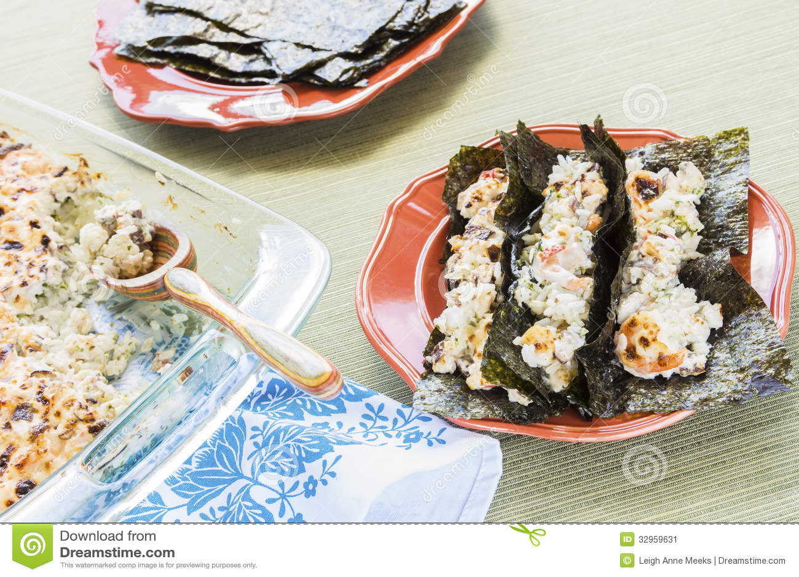 Hawaiian broiled sushi tacos stock image image 32959631 for Aloha asian cuisine sushi