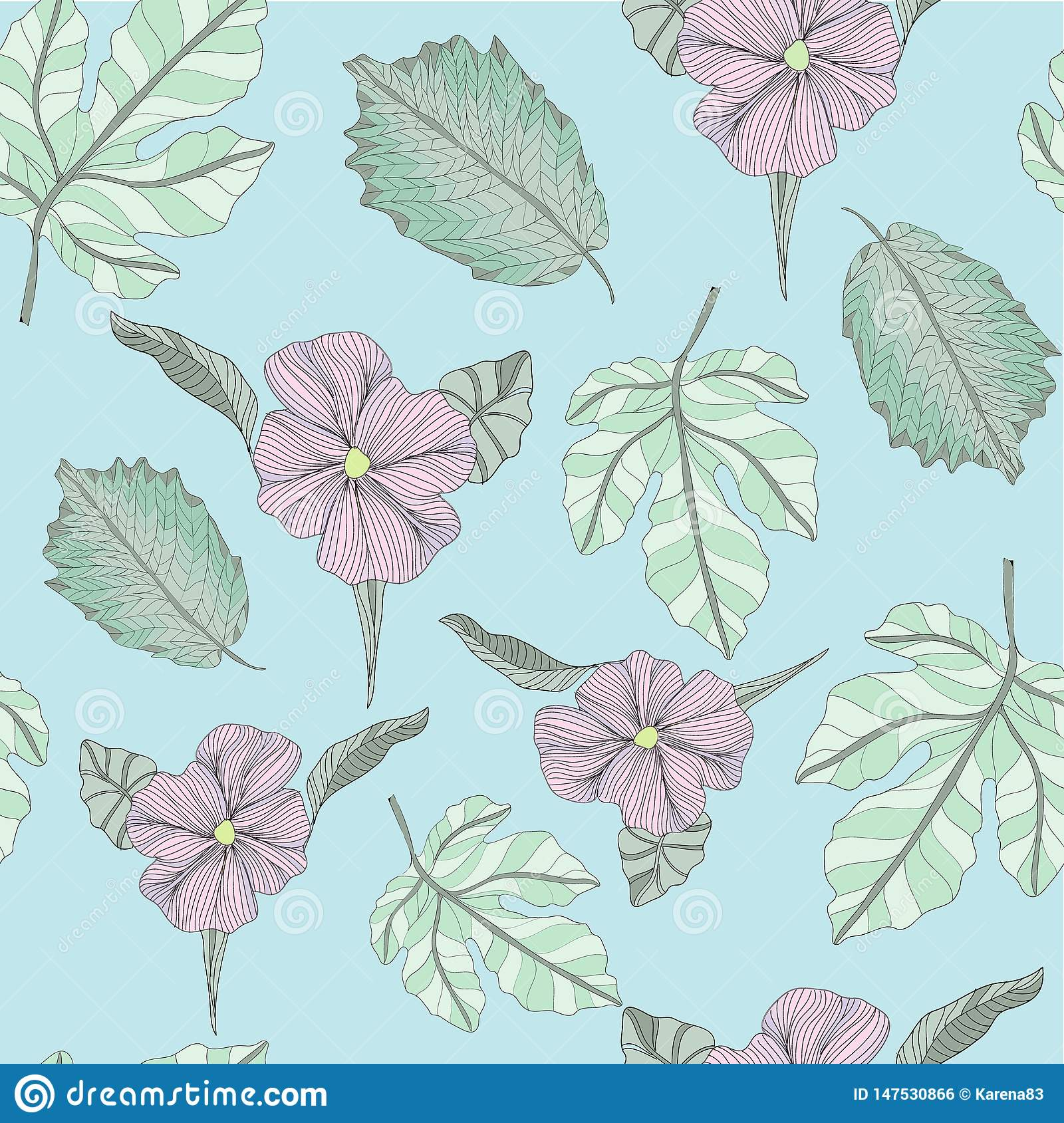 Hawaiian Floral Print Tropical Pattern Background Vector In Blue